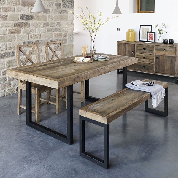 Standford Industrial Reclaimed Wood Bench and Dining Table
