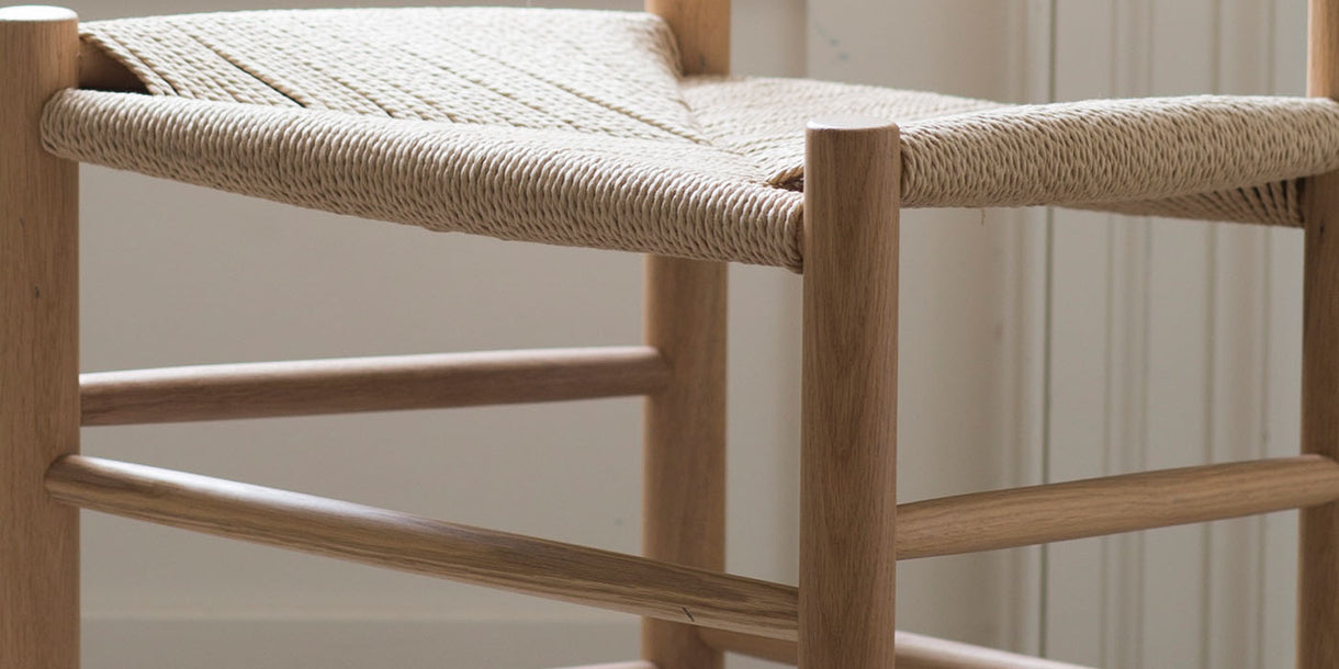 Light Oak and Jute Dining Chair Close up