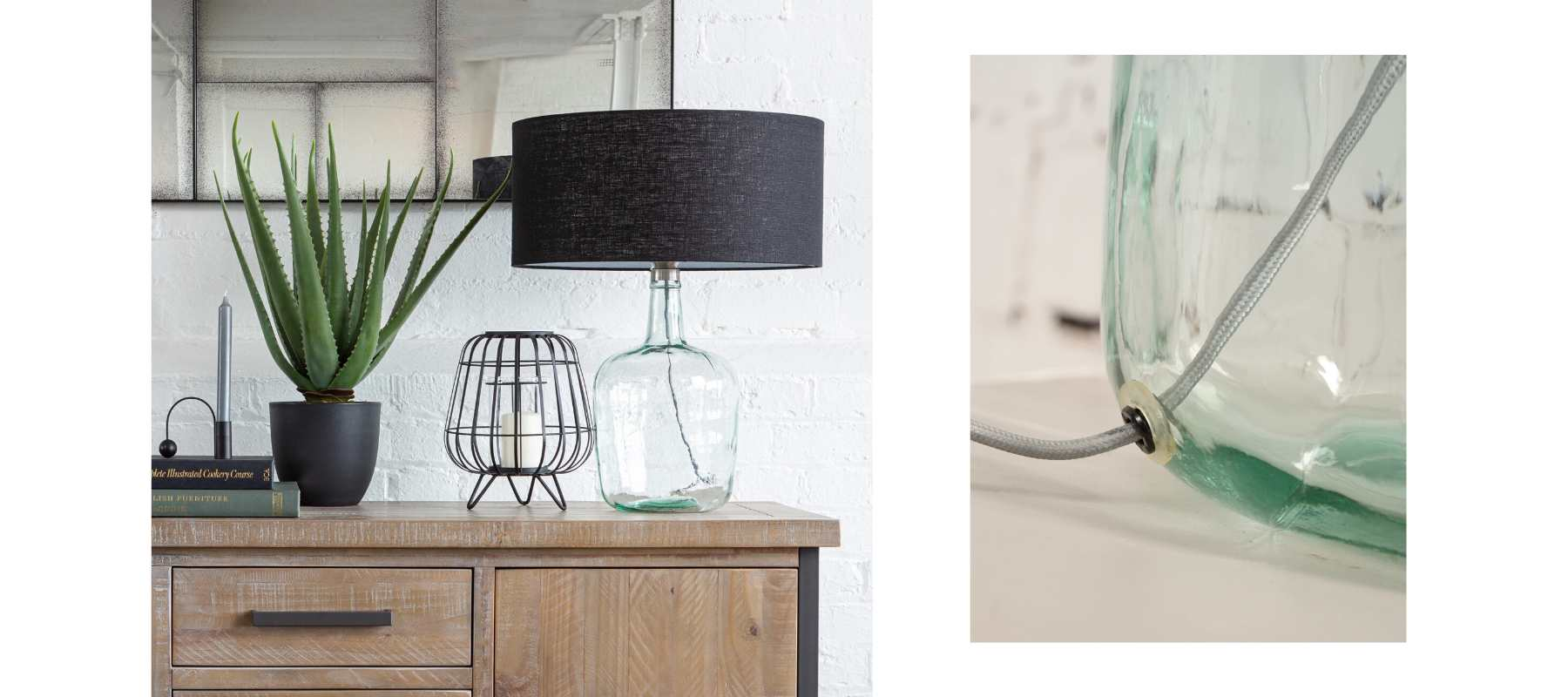 Mia glass table lamp with coloured shade and close up of glass