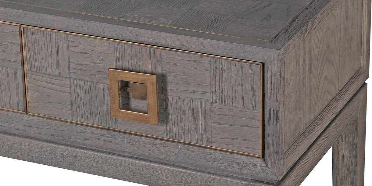 Detail of Livia Oak Console Table With Drawers