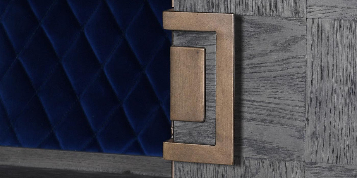 Brass Door Detail of Livia Oak Drinks Cabinet