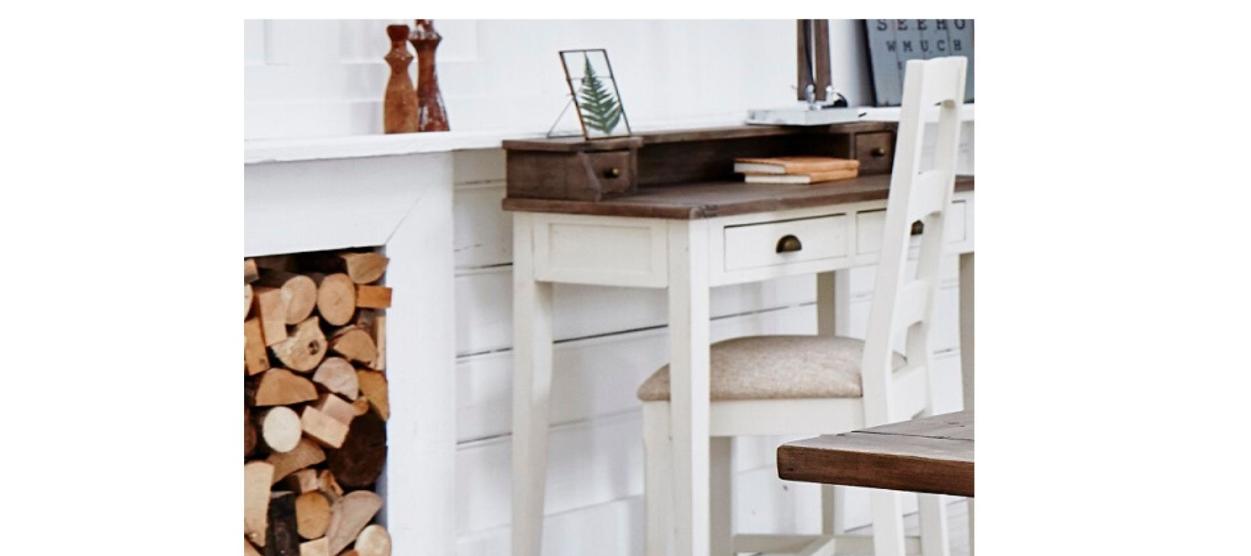 Worcester White reclaimed wood desk next to fireplace