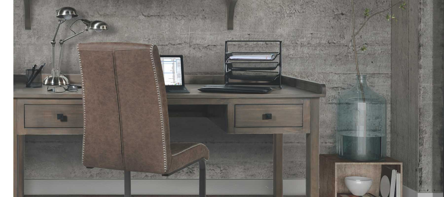 Reclaimed wood desk with brown faux leather chair