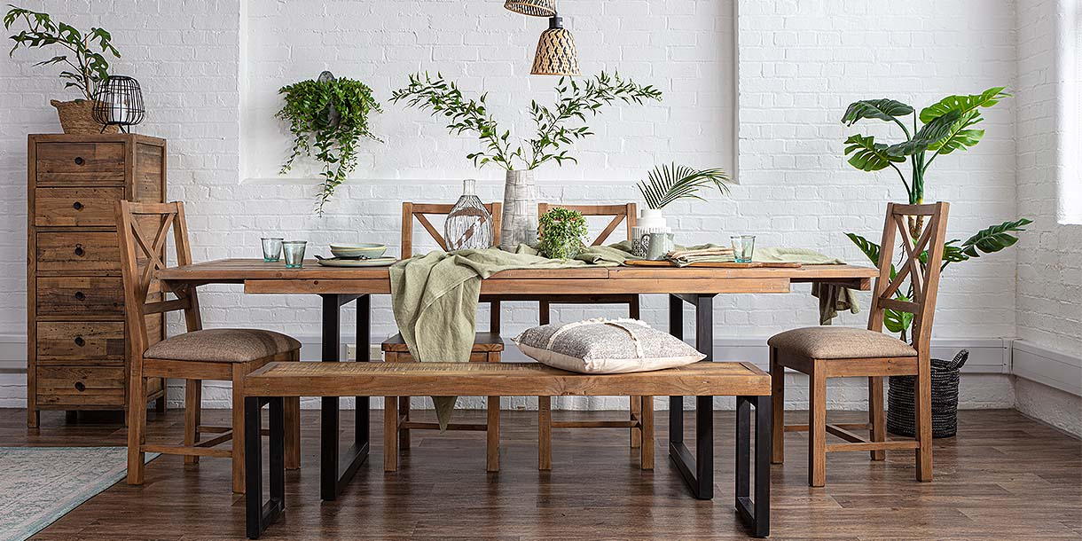 Standford Industrial Reclaimed Extending Dining Set with Wooden Seating