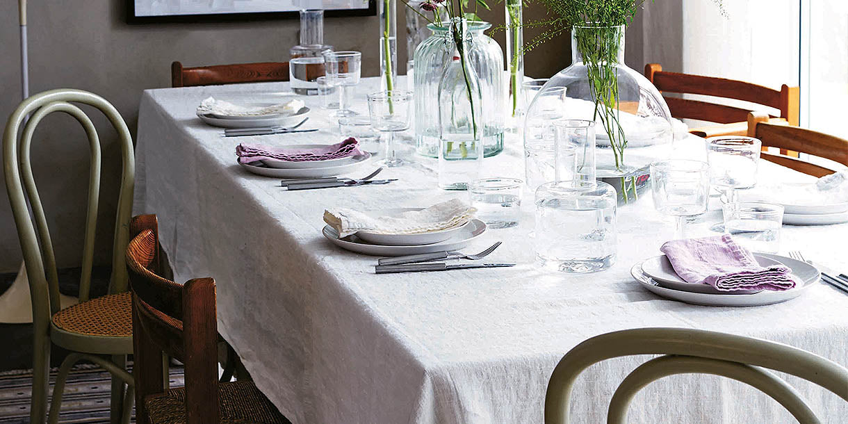 Lovely Linen Dusty Pink Napkins on Dining Table