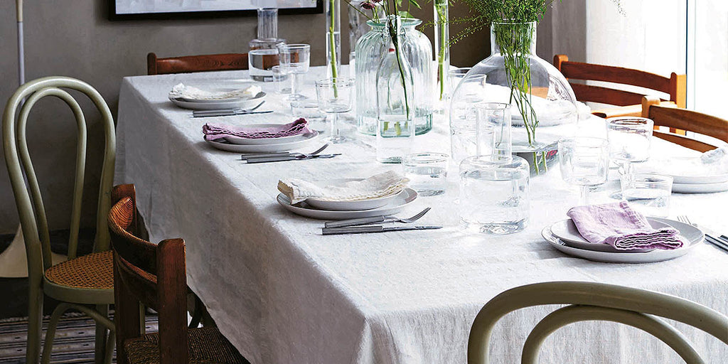 Lovely Linen Misty White Tablecloth