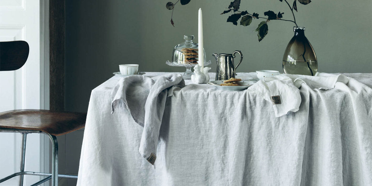 Lovely Linen Misty Cloud Tablecloth