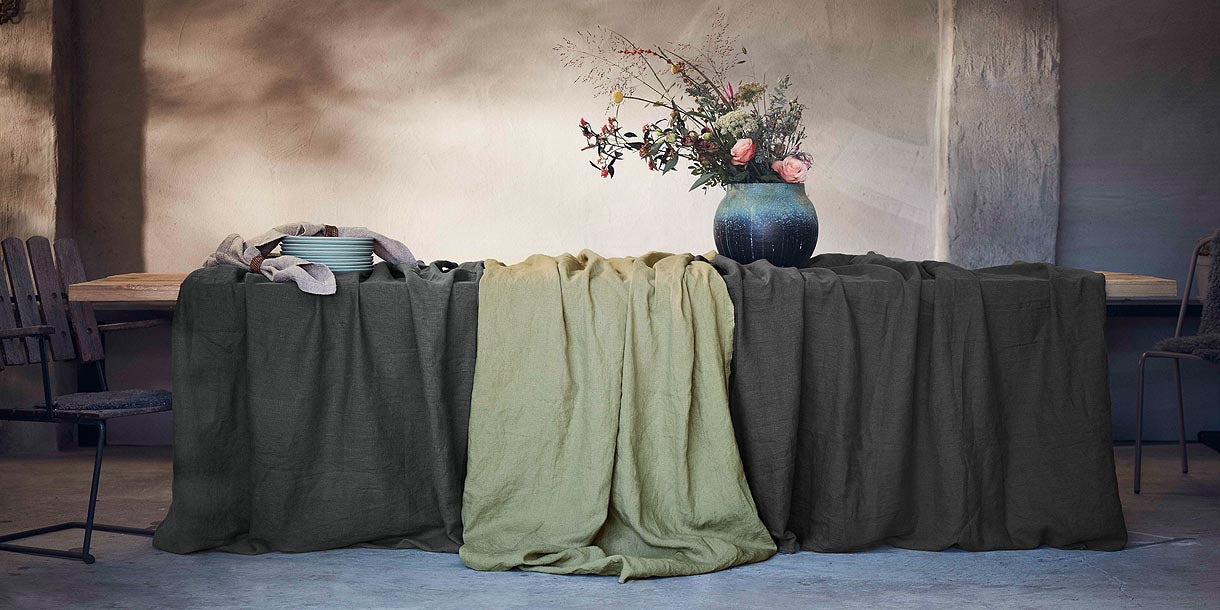 Lovely Linen Tablecloth in Avocado Green and Dark Grey