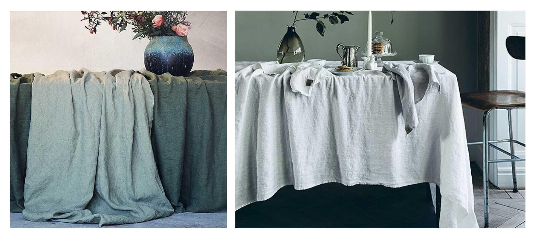 Crumpled white and grey linen table cloths layered over table