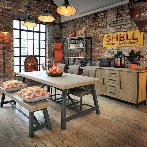 Industrial Lowry Reclaimed Wood Extending Dining Table