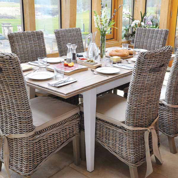 Savannah Reclaimed Wood Extending Dining Table and Rattan Chairs