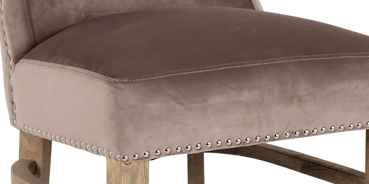 Luxe Daisy Taupe Velvet Dining Chair Close up