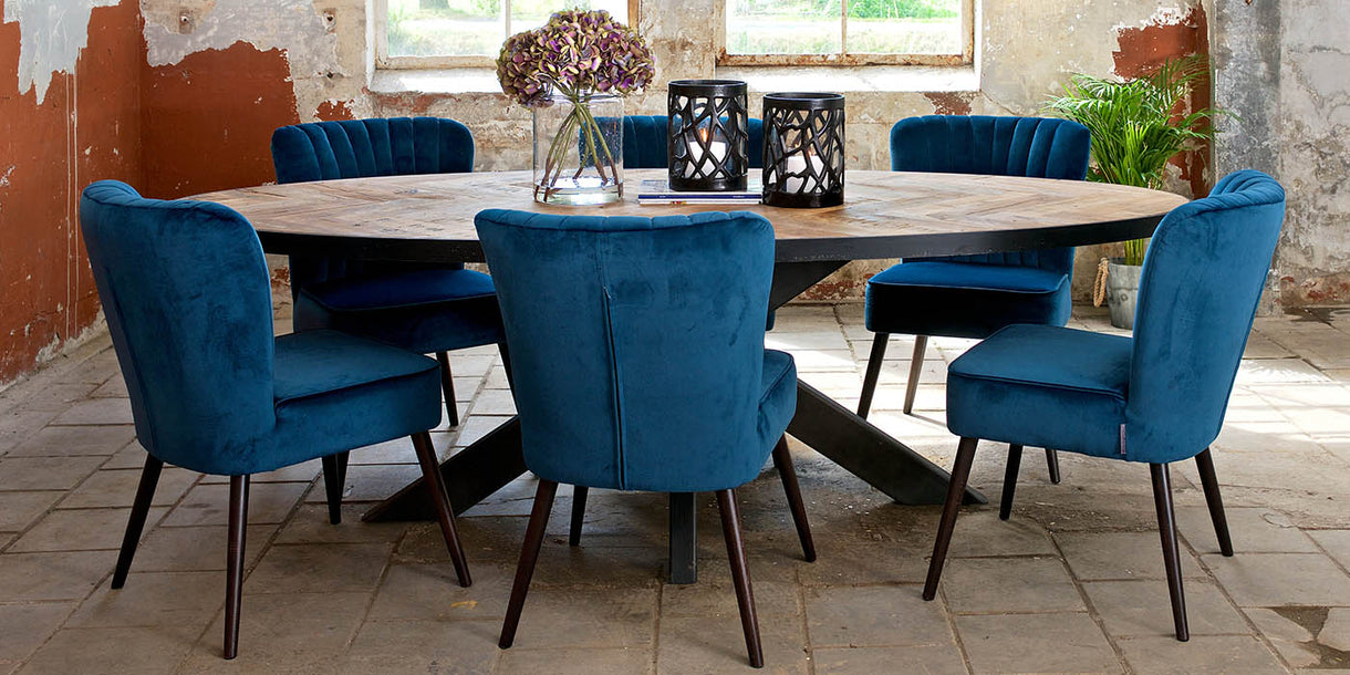 Sussex Oak Parquet Industrial Oval Dining Table and Chairs