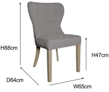 Pair of Grey Luxe Daisy Upholstered Dining Chair