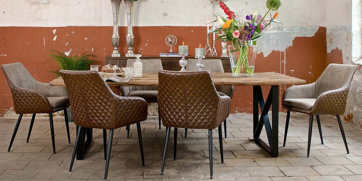 Gustav PU Leather Dining Chairs at Reclaimed Table