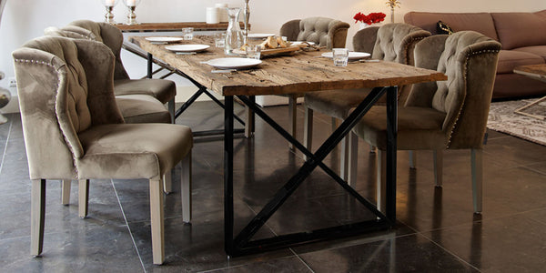 Luxe Kensington Industrial Reclaimed Wood Dining Table and Luxe Macy Grey chairs