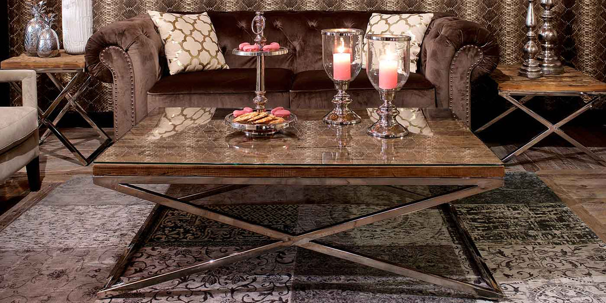 Luxe Kensington Reclaimed Wood Coffee Table with glass top