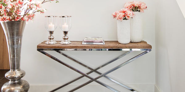 Luxe Kensington Reclaimed Wood Console Table with Flowers