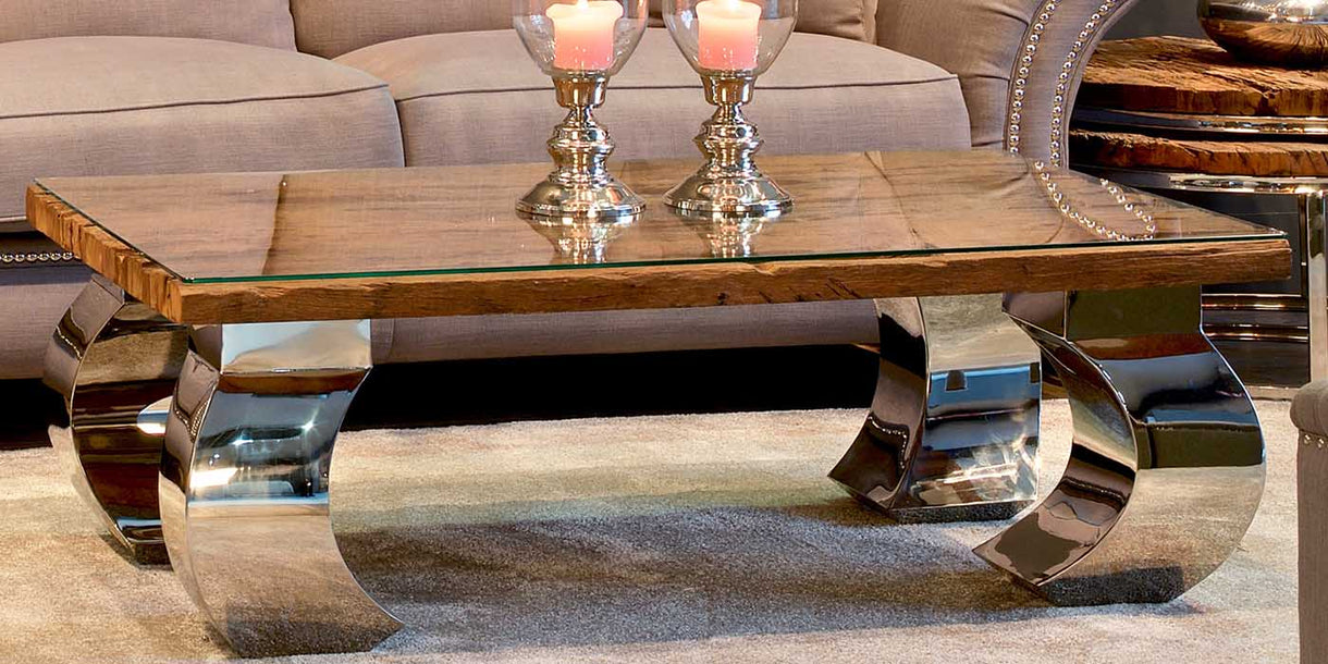 Luxe Kensington Reclaimed Wood Curved Coffee Table with glass top