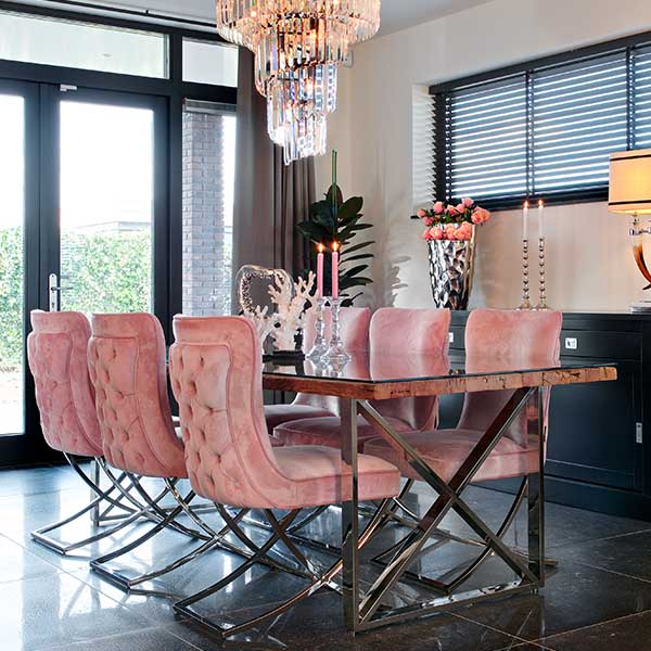 Luxe Kensington Reclaimed Wood Dining Table with Pink Velvet Dining Chairs
