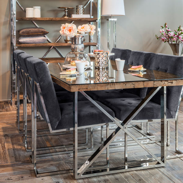 Luxe Kensington Reclaimed Wood Dining Table with Glass Top