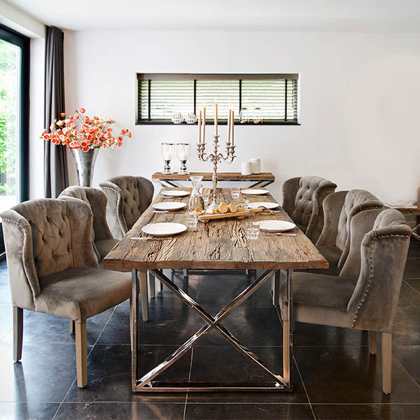 Luxe Kensington Reclaimed Wood Dining Table with Velvet Dining Chairs