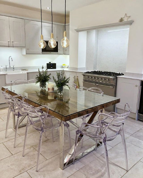 Luxe Kensington Reclaimed Wood Dining Table in Kitchen