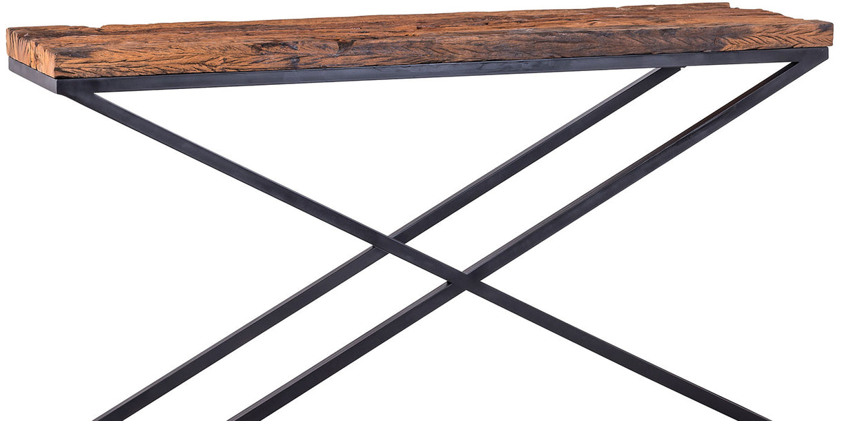 Luxe Kensington Reclaimed Wood Industrial Console Table cut out