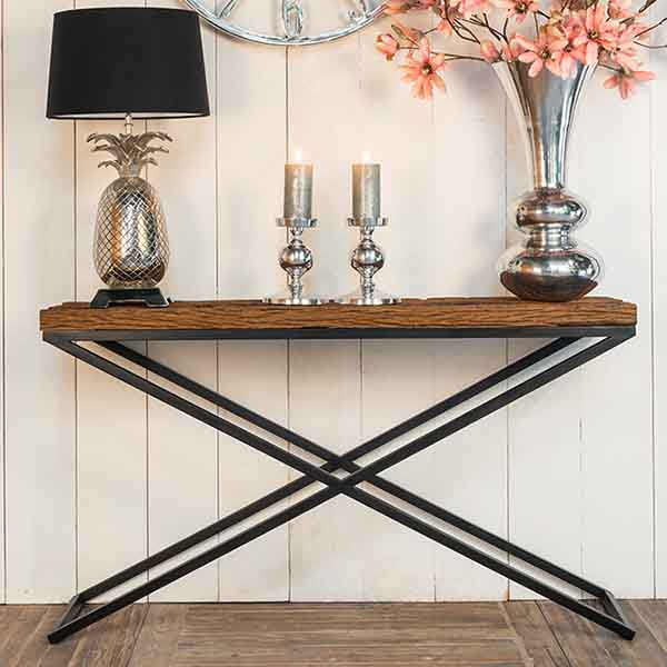 Luxe Kensington Reclaimed Wood Industrial Console Table