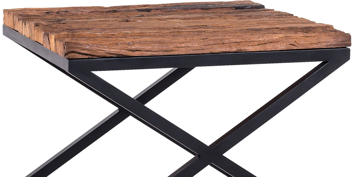 Luxe Kensington Reclaimed Wood Industrial Side Table cut out