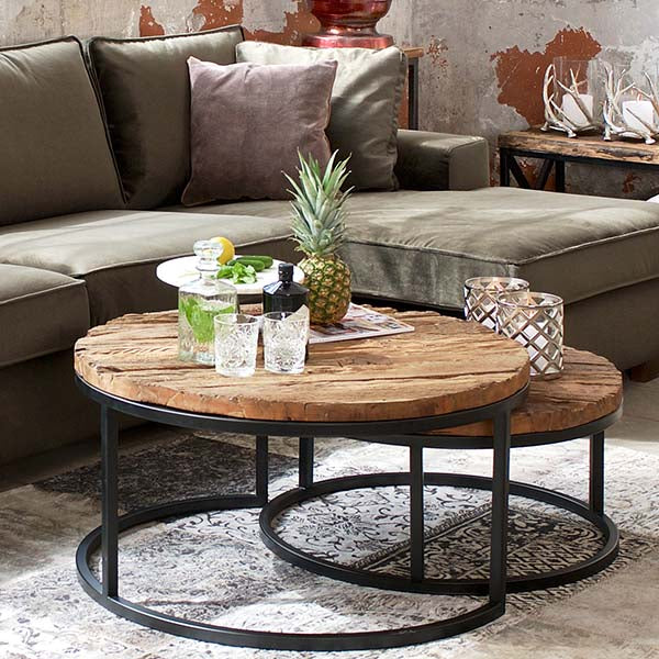 Luxe Kensington Reclaimed Wood Round Nest of Coffee Tables