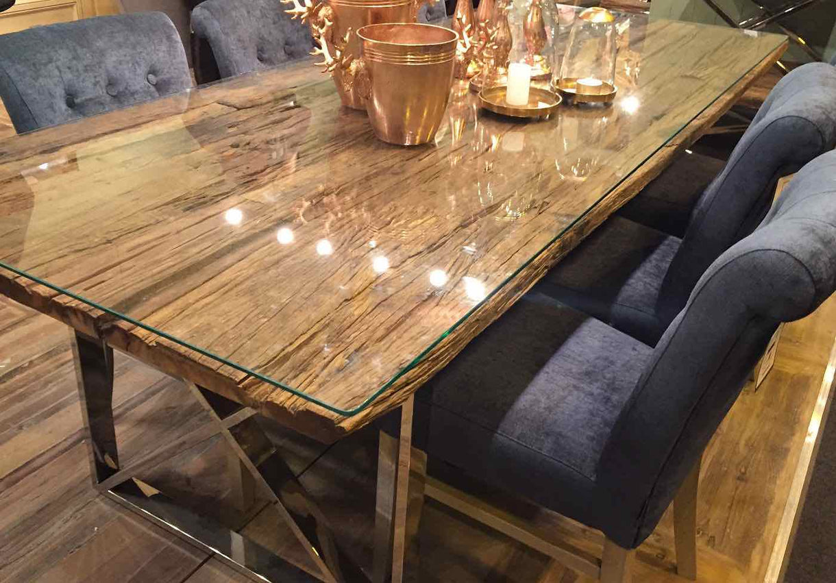 Luxe Kensington Reclaimed Wood Dining Table with glass