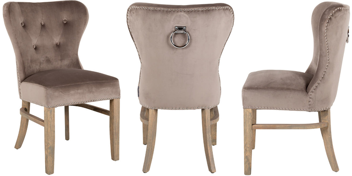 Luxe Daisy Taupe Velvet Dining Chairs