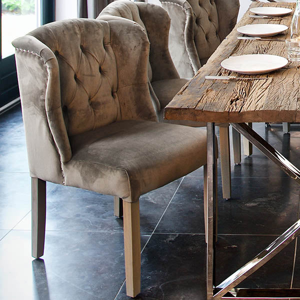 Luxe Macy Grey Upholstered Dining Chair