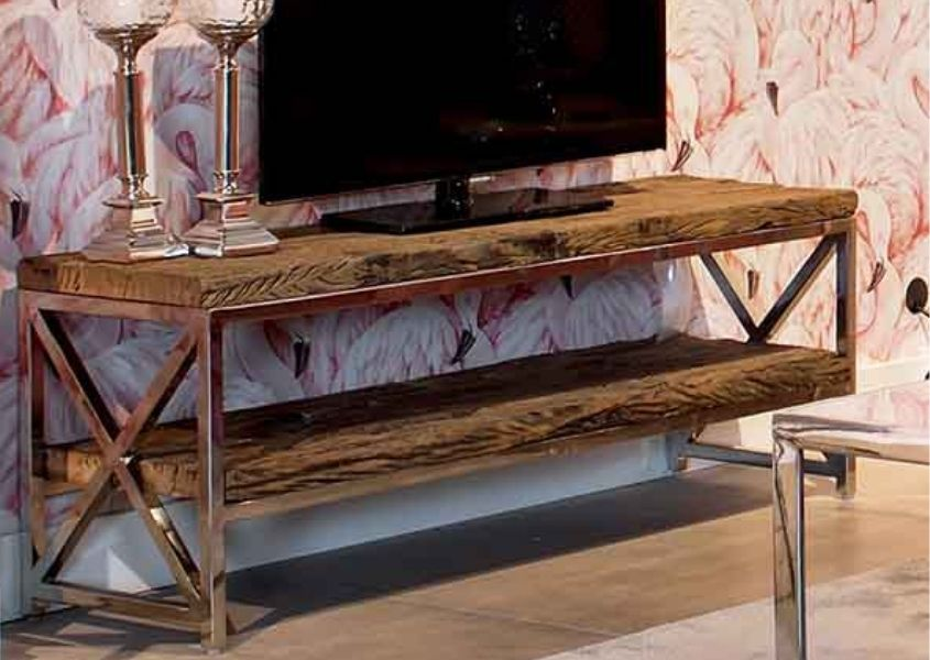 Rustic reclaimed wood TV table with silver steel legs