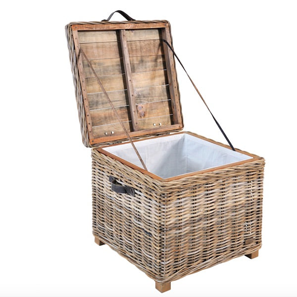Rattan May Reclaimed Wood and Wicker Storage Side Table
