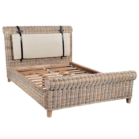 Country Maya Rattan Sleigh Bed