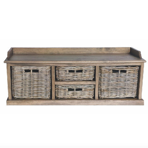 Rattan May Reclaimed Wood Storage Unit with Wicker Baskets