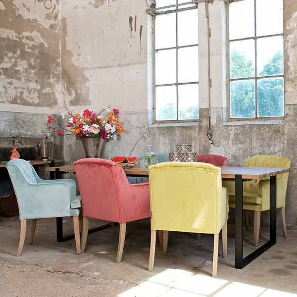 Maddox Industrial Reclaimed Elm Dining Table with Yellow Chairs