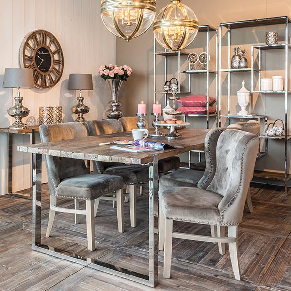 Maddox Industrial Reclaimed Elm Dining Table and Velvet Chairs