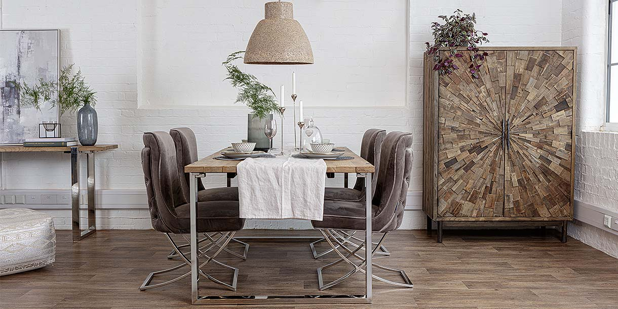 Maddox Reclaimed Elm Dining Table and velvet dining chairs