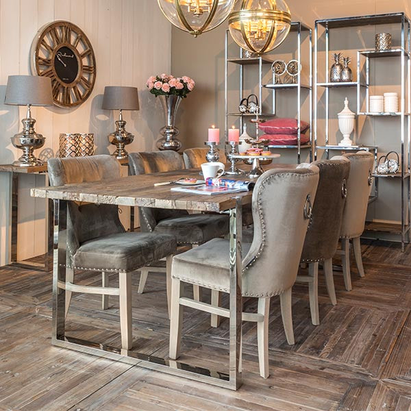 Maddox Industrial Reclaimed Elm Dining Table in dining room