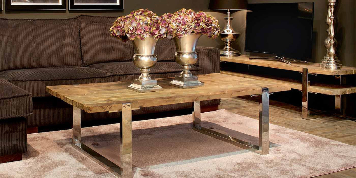 Maddox Reclaimed Elm coffee table with Chrome Legs