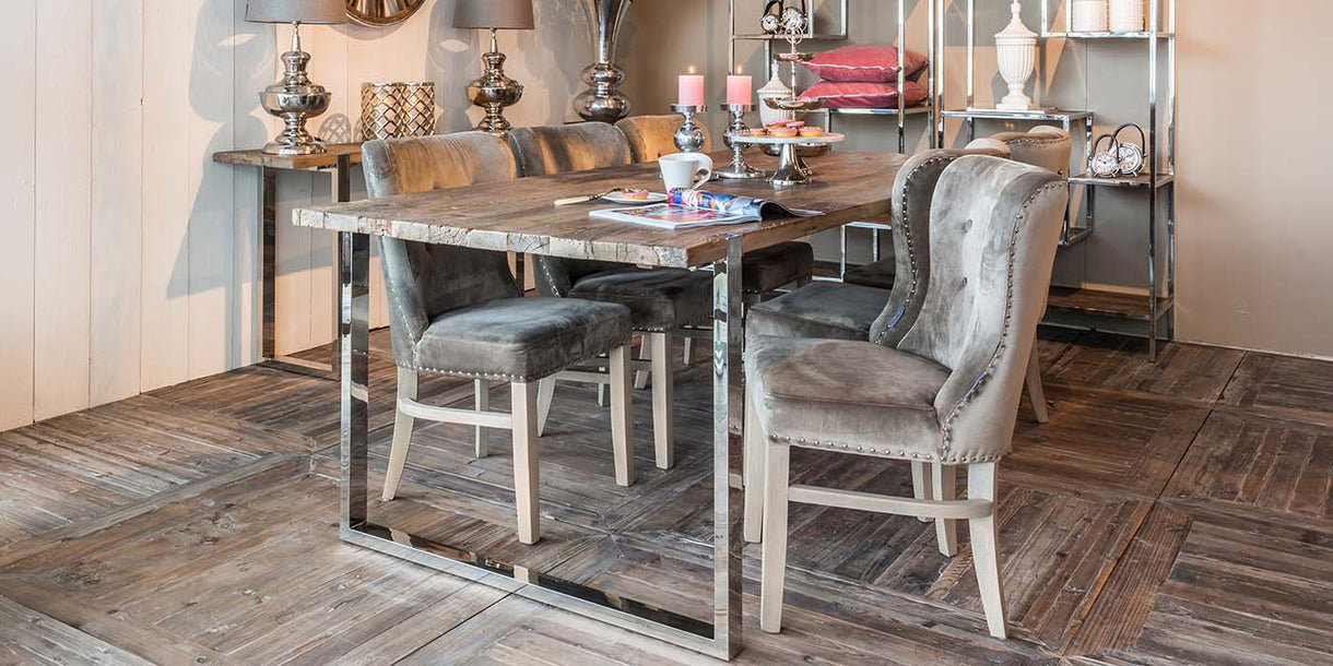 Maddox Reclaimed Wood Dining Table with upholstered dining chairs