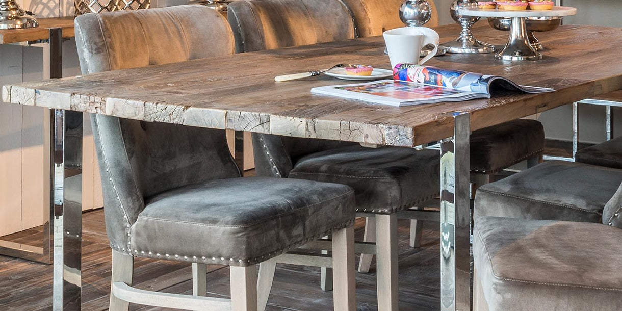 Rustic Wood Dining Table Top with Steel Frame