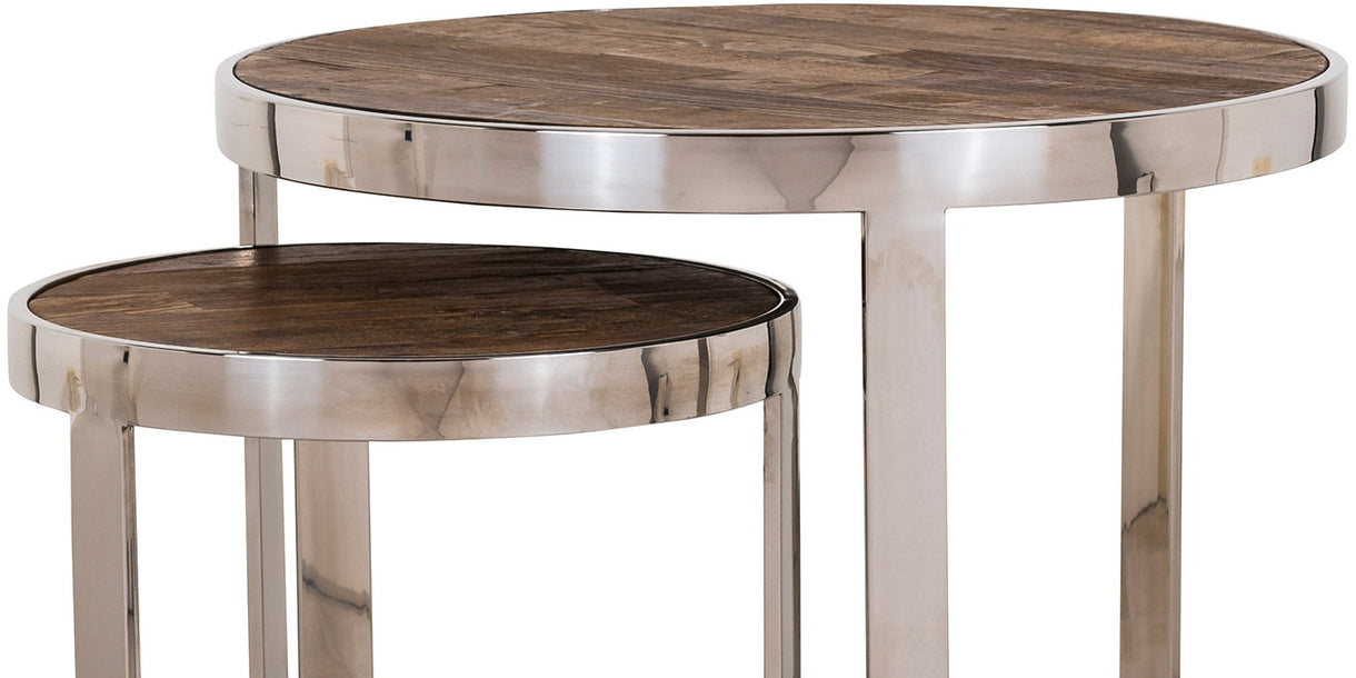 Maddox Reclaimed Elm Nest of Round Side Tables