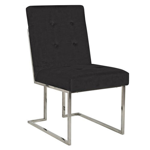 Luxe Madison Chrome Grey Upholstered Dining Chair