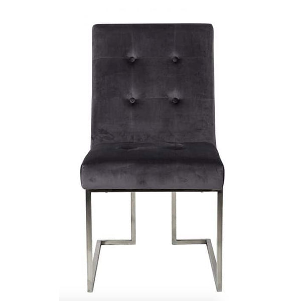Luxe Madison Chrome Velvet Upholstered Dining Chair
