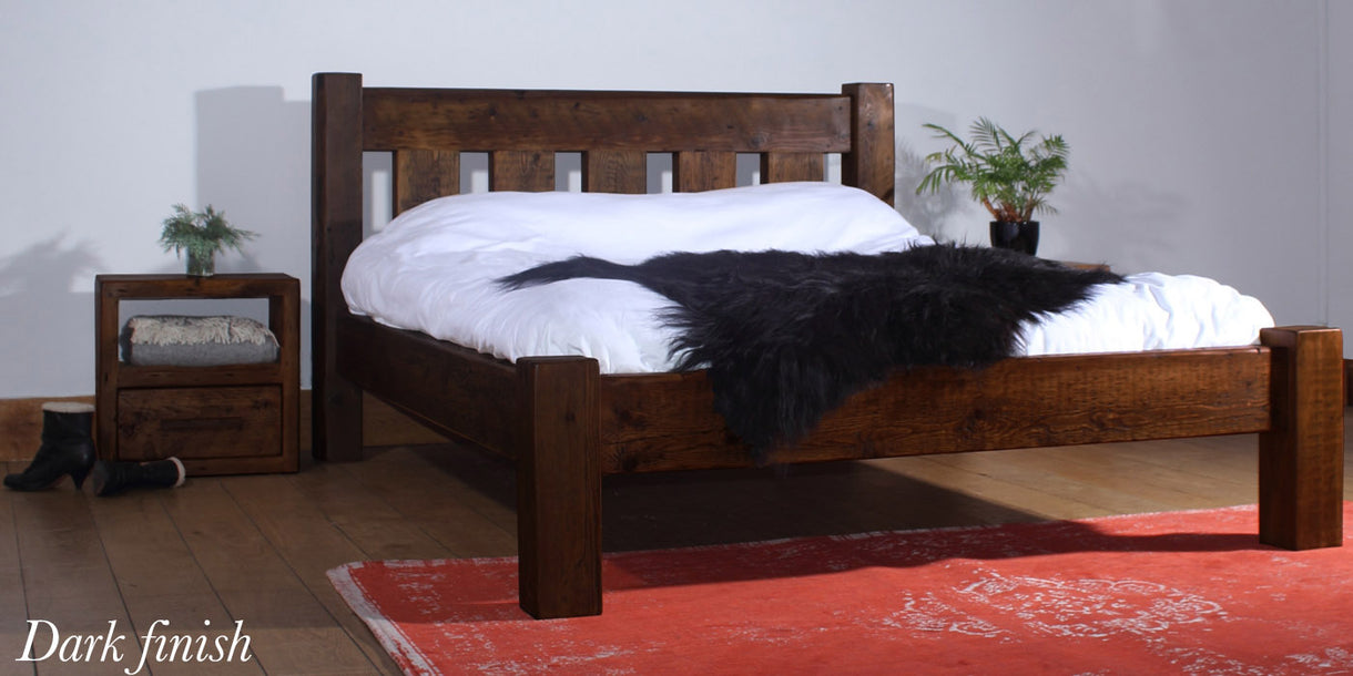 Beam Marlow Reclaimed Wood Bed Dark Finish
