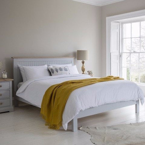 Elegant Hudson Living Marlow Bed Painted in Grey in bedroom with bedside